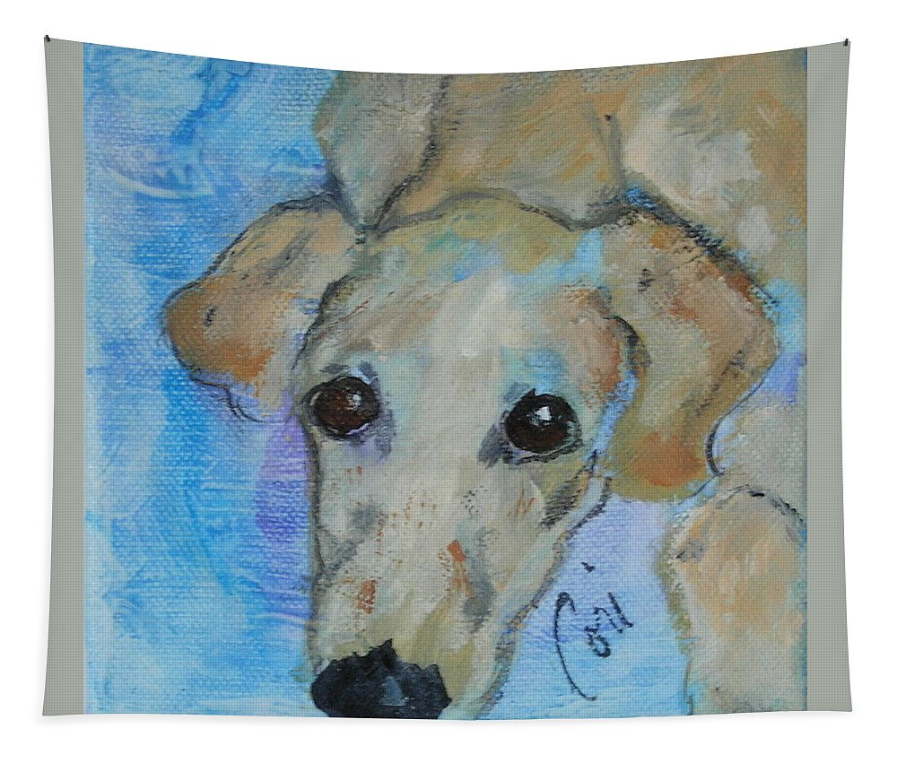 Acrylic Tapestry featuring the drawing Pupster by Cori Solomon