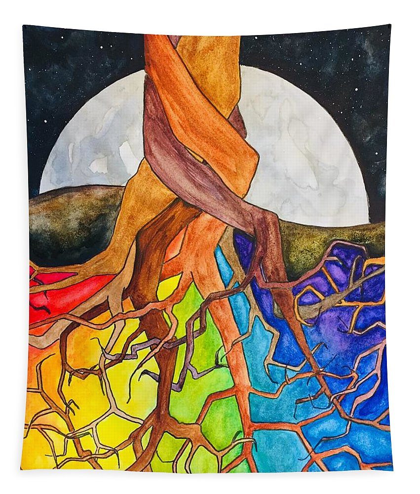 Rainbow Tapestry featuring the painting Rainbow Soil with Moon by Vonda Drees