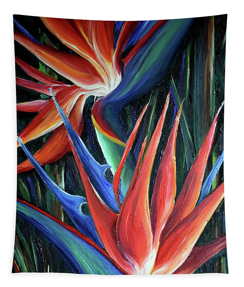 Strelitzia Reginae  Tropical Lily Tapestry featuring the painting Red Birds Of Paradise by Karin Dawn Kelshall- Best
