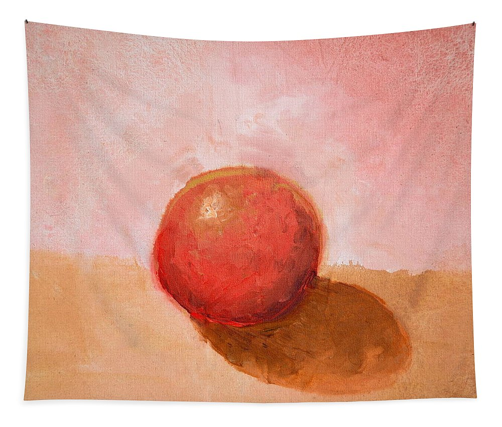 Spheres Tapestry featuring the painting Red Sphere Still Life by Michelle Calkins