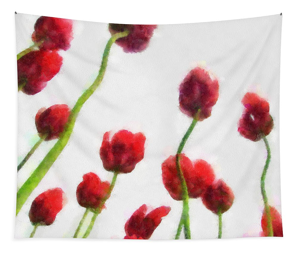 Hollander Tapestry featuring the photograph Red Tulips from the Bottom Up ll by Michelle Calkins