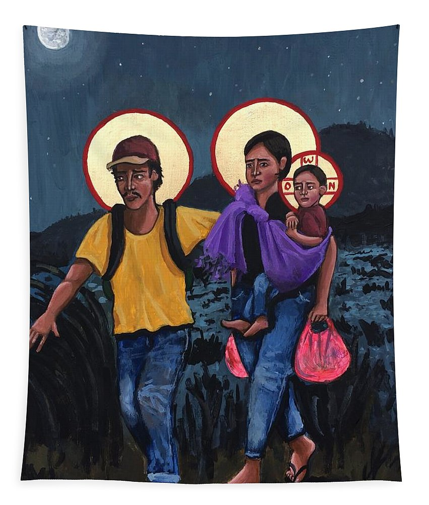 Tapestry featuring the painting Refugees La Sagrada Familia by Kelly Latimore