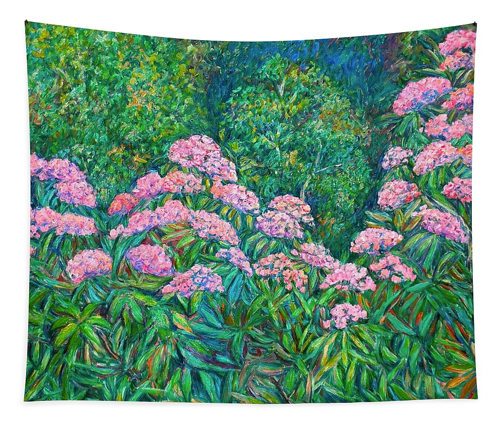 Floral Tapestry featuring the painting Rhododendron Near Black Rock Hill by Kendall Kessler