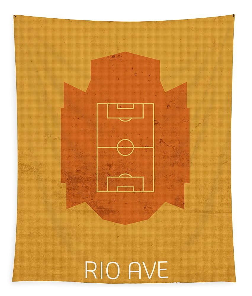 Rio Tapestry featuring the mixed media Rio Ave Stadium Football Soccer Minimalist Series by Design Turnpike