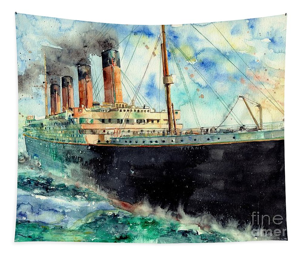 Rms Titanic Tapestry featuring the painting RMS Titanic White Star Line Ship by Suzann Sines
