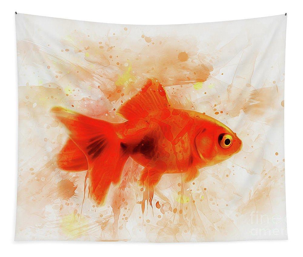 Fish Tapestry featuring the digital art Ryukin Goldfish by Ian Mitchell