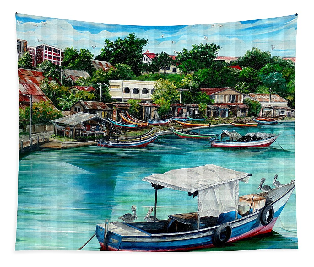 Ocean Painting Sea Scape Painting Fishing Boat Painting Fishing Village Painting Sanfernando Trinidad Painting Boats Painting Caribbean Painting Original Oil Painting Of The Main Southern Town In Trinidad  Artist Pob Tapestry featuring the painting Sanfernando Wharf by Karin Dawn Kelshall- Best
