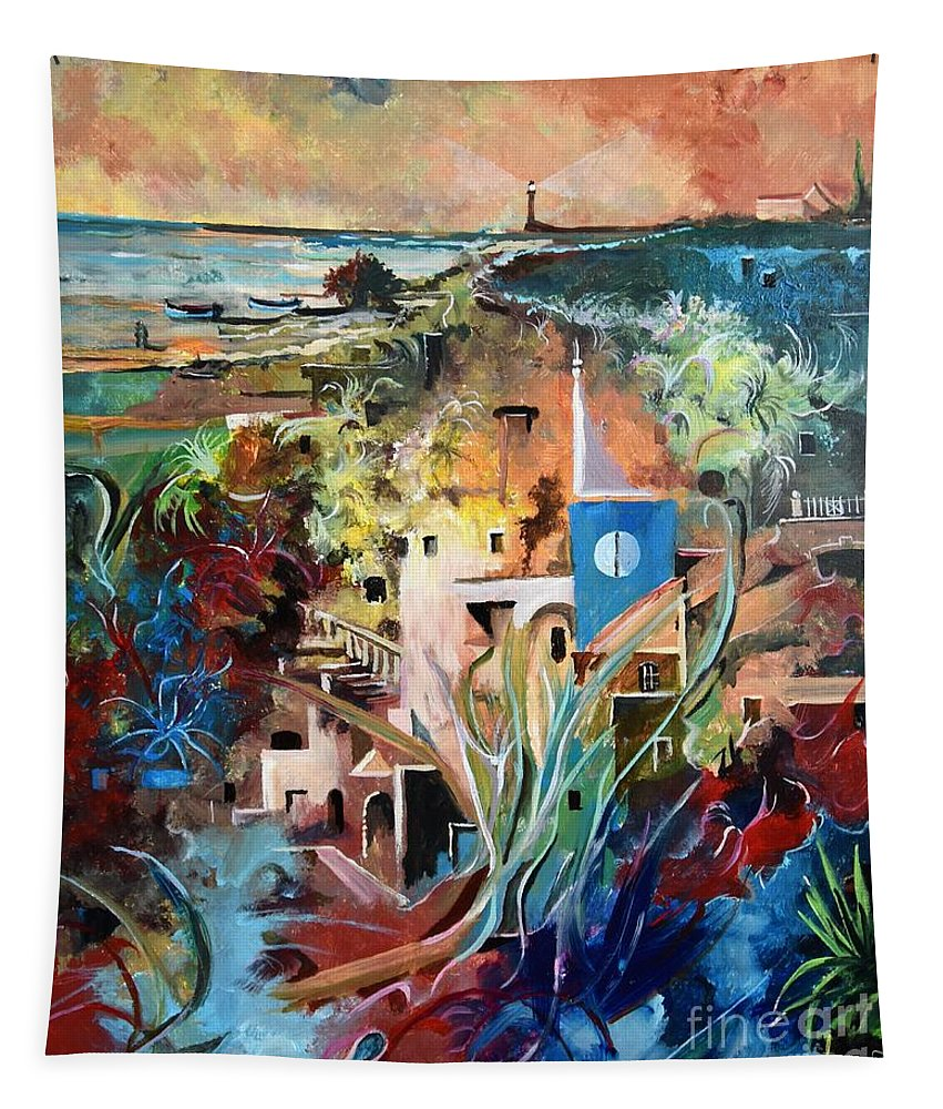 Abstract Tapestry featuring the painting Secret Cove by Sinisa Saratlic