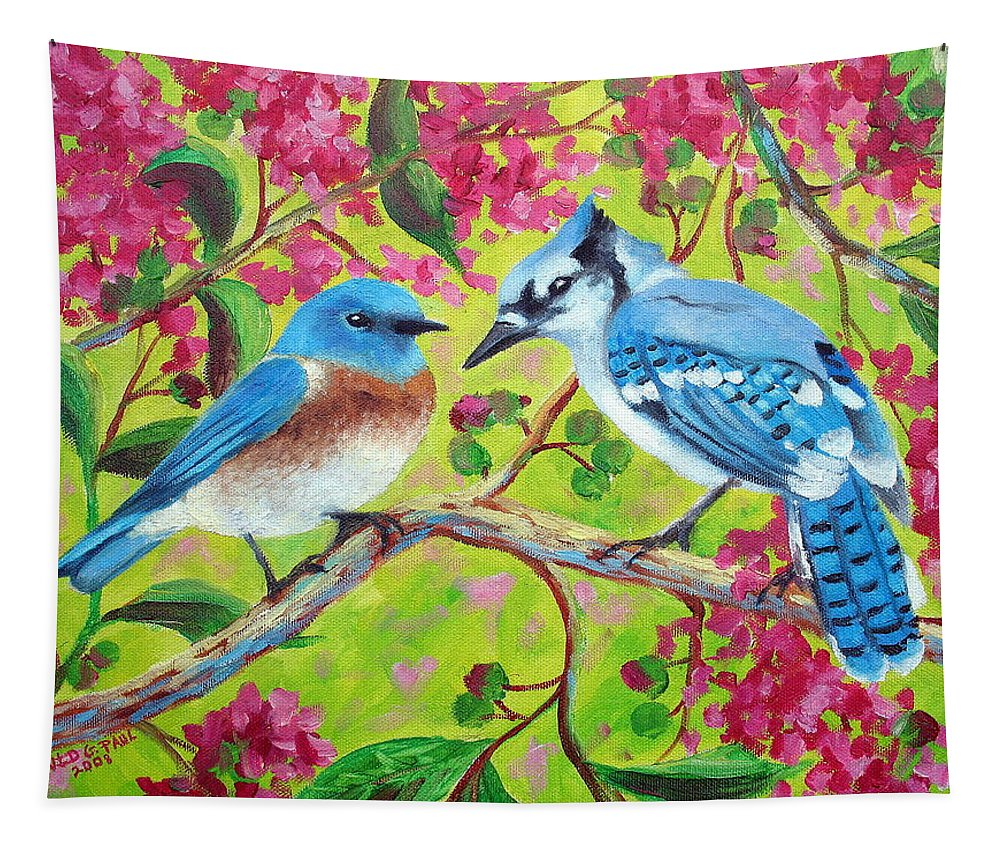 Birds Tapestry featuring the painting Sharing A Branch by David G Paul
