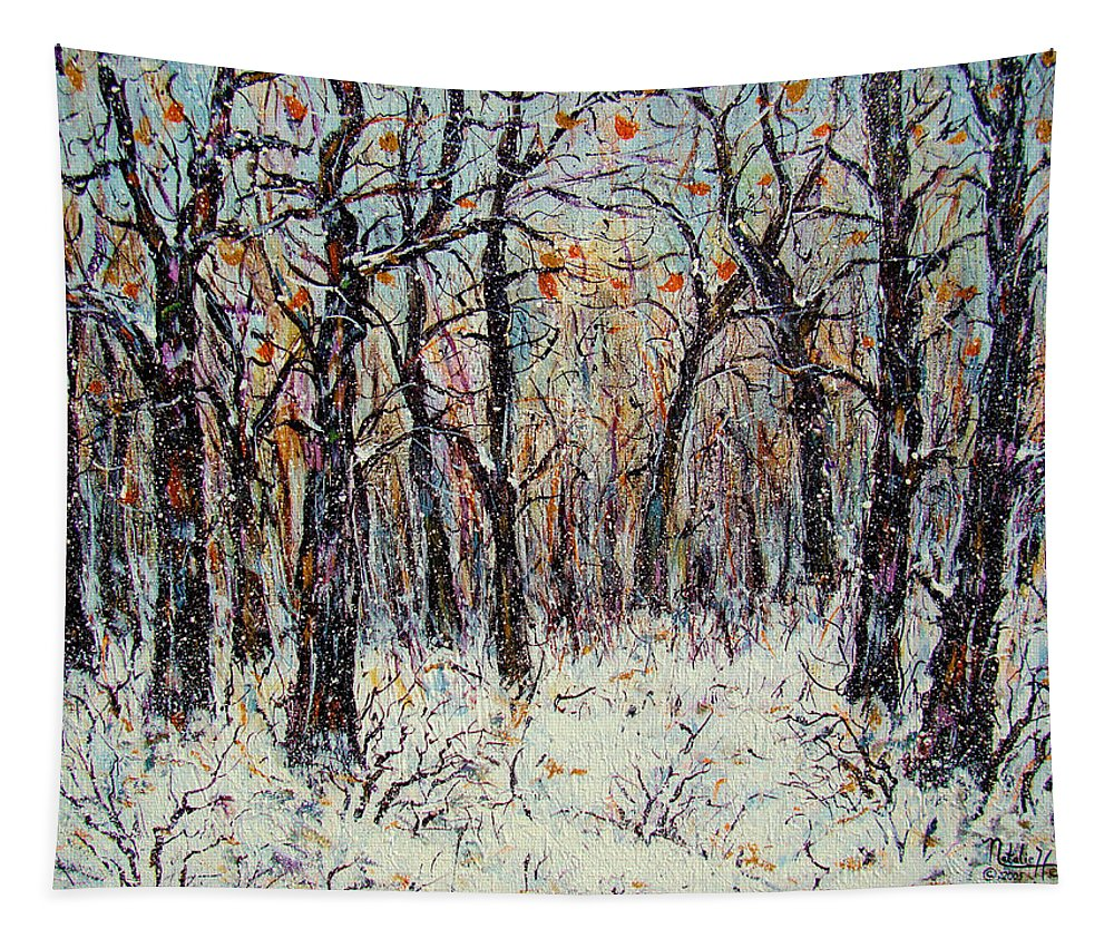 Landscape Tapestry featuring the painting Snowing In The Forest by Natalie Holland