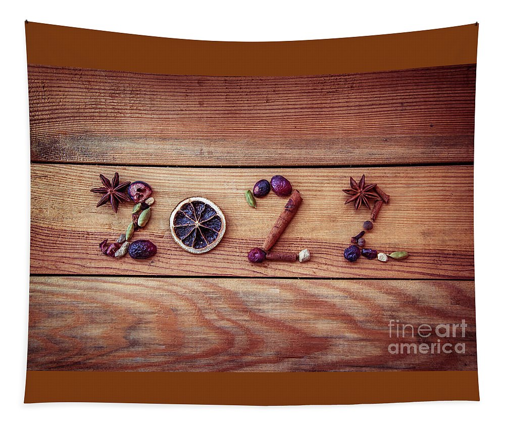 New Year Tapestry featuring the photograph Spices New Year Card by Delphimages Photo Creations