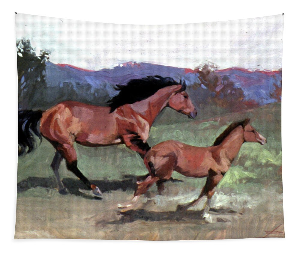 Horses Tapestry featuring the painting Spirit of Freedom by Betty Jean Billups