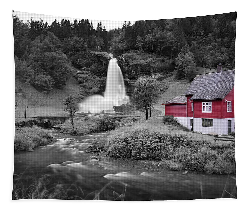 Tapestry featuring the photograph Steinsdalsfossen by Pop