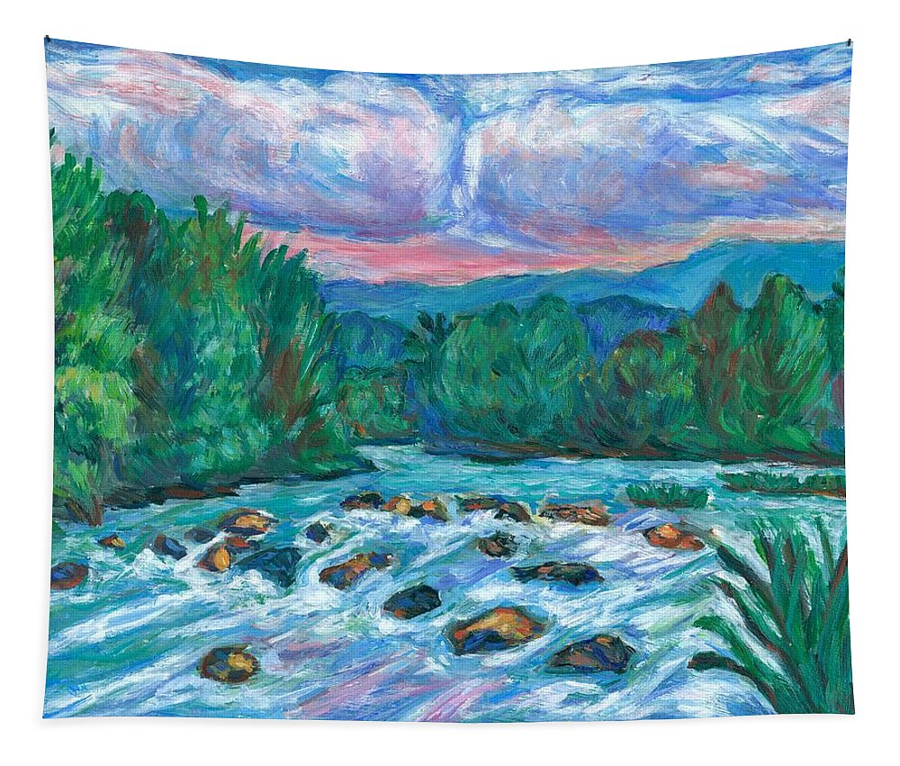 Landscape Tapestry featuring the painting Stepping Stones on the New River by Kendall Kessler