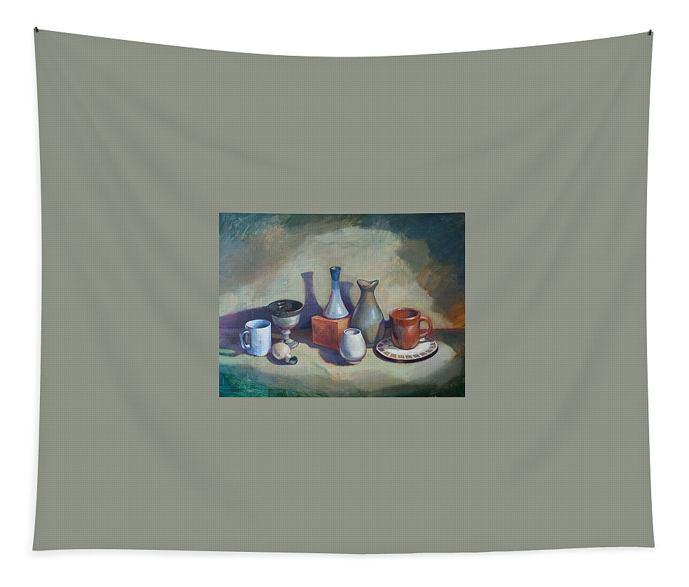 Landscape Tapestry featuring the painting Still Life I by Farhan Abouassali