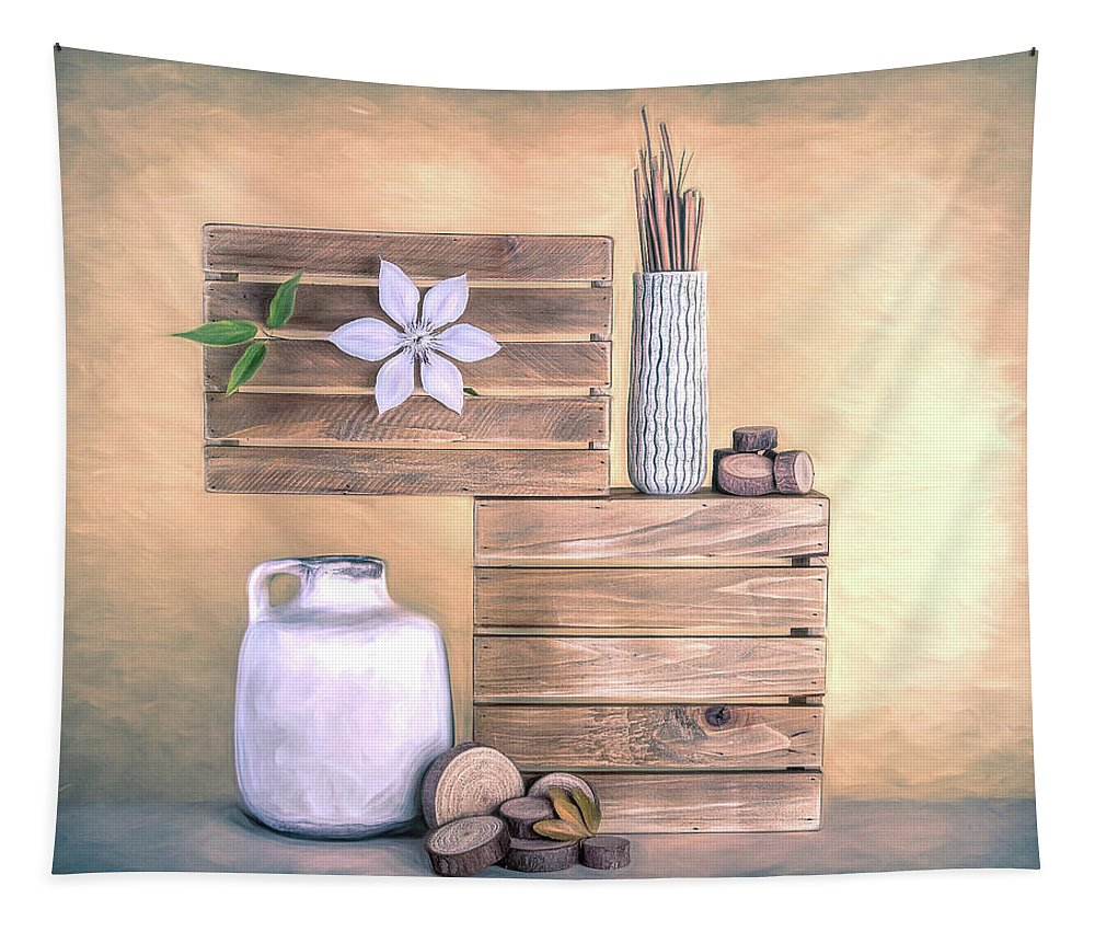 Jug Tapestry featuring the photograph Still Life With Wood by Tom Mc Nemar