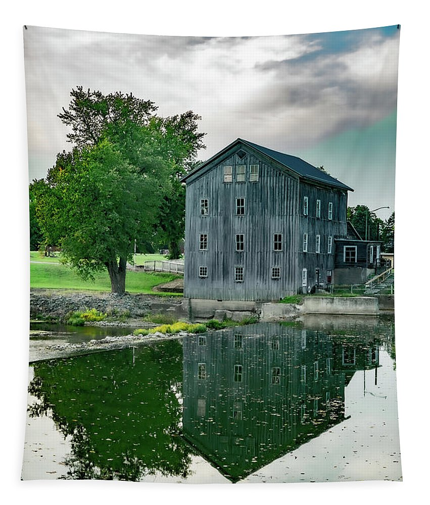 Landscape Tapestry featuring the photograph Stockdale Roller Mill #3 by Scott Smith