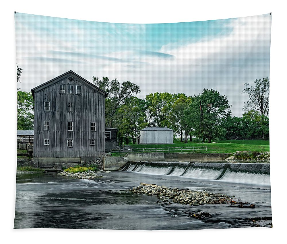 Grist Mill Tapestry featuring the photograph Stockdale Roller Mill And Dam by Scott Smith