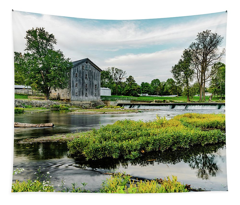 Grist Mill Tapestry featuring the photograph Stockdale Roller Mill by Scott Smith
