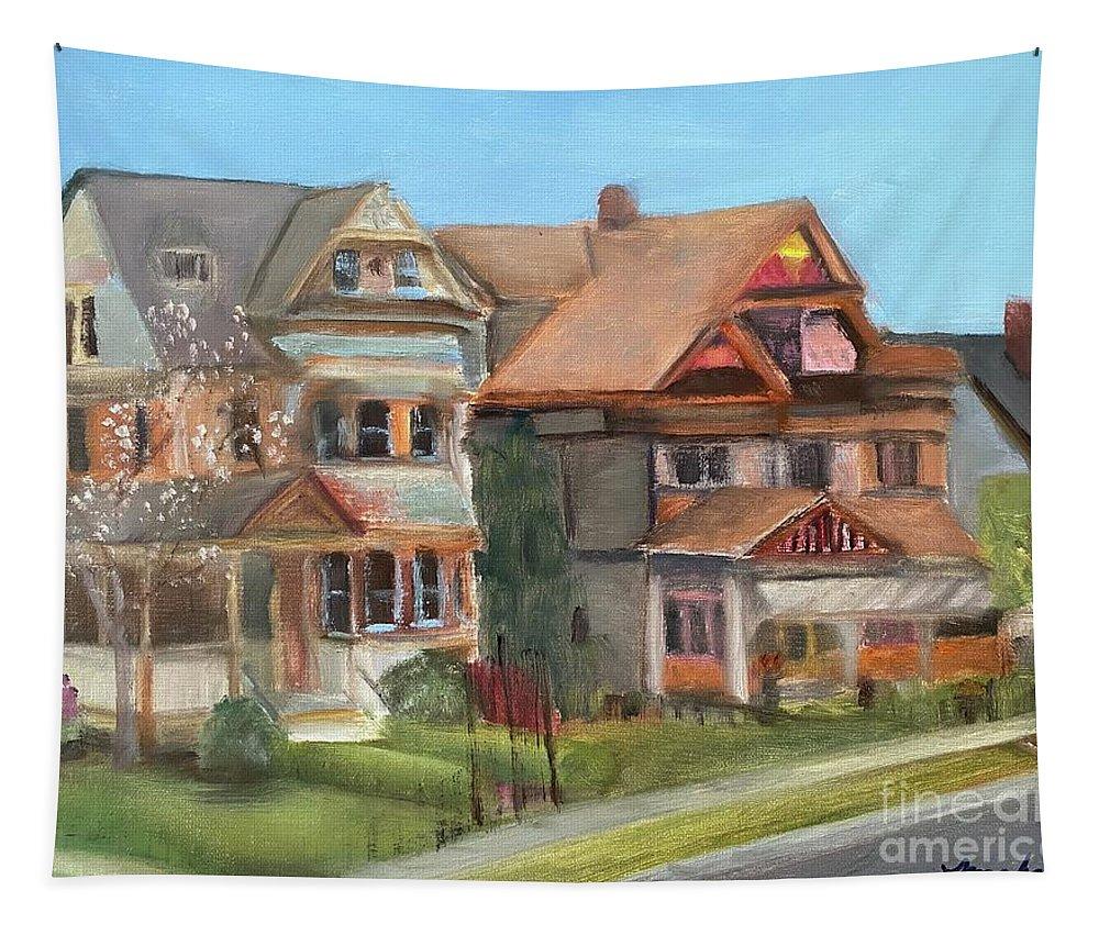Stockton Street Tapestry featuring the painting Stockton Street by Sheila Mashaw