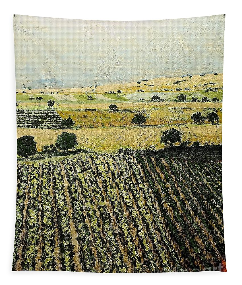 Landscape Tapestry featuring the painting Storms Over by Allan P Friedlander