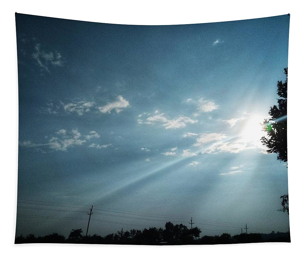 Sky Tapestry featuring the photograph Striking rays by Yvonne's Ogolla