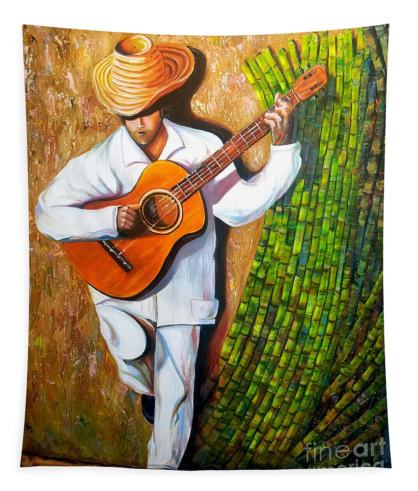 Cuban Art Tapestry featuring the painting Sugarcane Worker by Jose Manuel Abraham