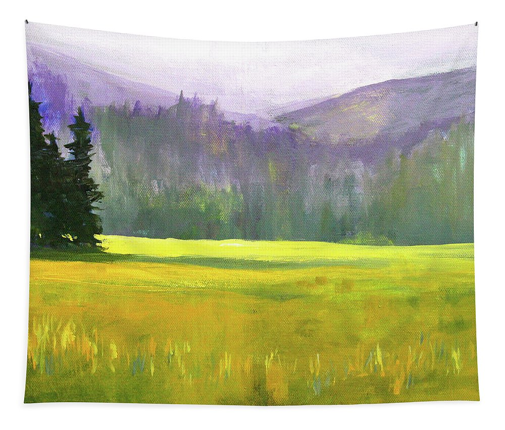Oregon Landscape Tapestry featuring the painting Sunny Autumn Landscape by Nancy Merkle