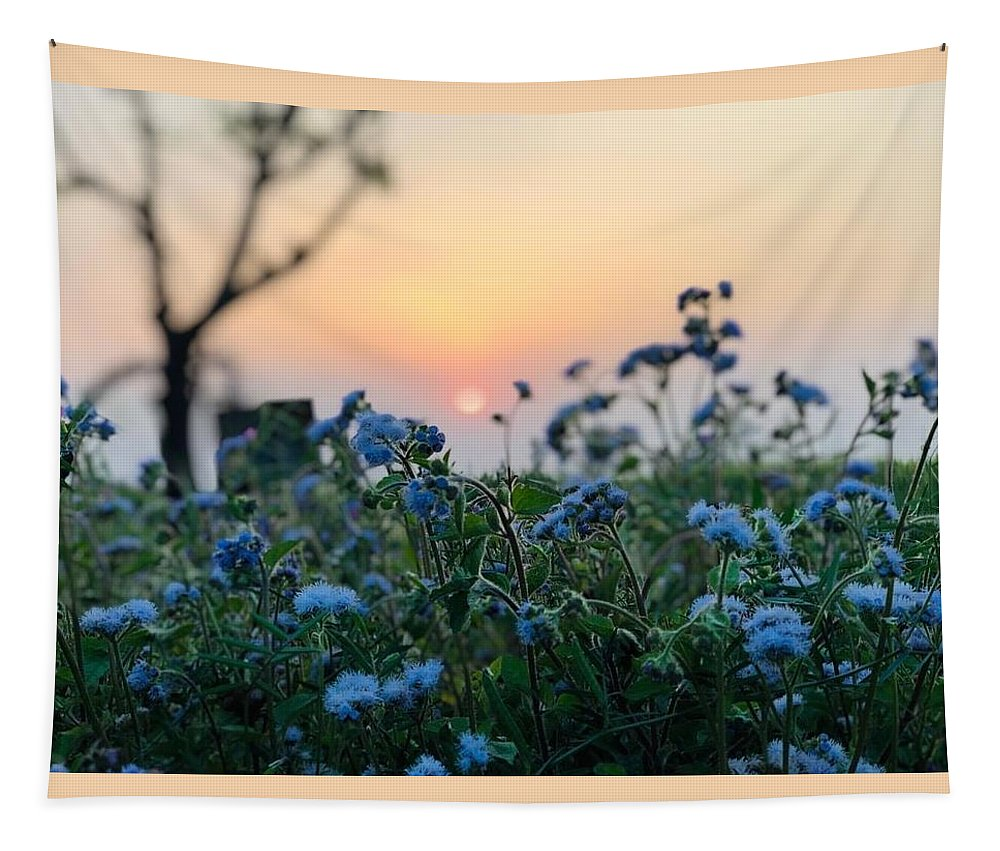 Flowers Tapestry featuring the photograph Sunset Behind Flowers by Prashant Dalal
