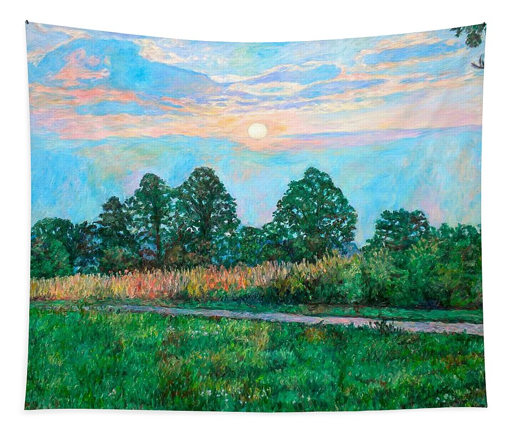 Kendall Kessler Tapestry featuring the painting Sunset Near Fancy Gap by Kendall Kessler