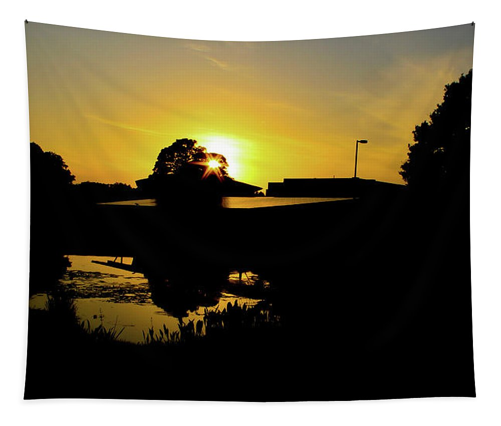 Landscape Tapestry featuring the digital art Sunset over Building by Daniel Cornell