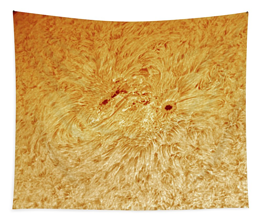 Sunspots Tapestry featuring the photograph Sunspot AR 2781 by Prabhu Astrophotography
