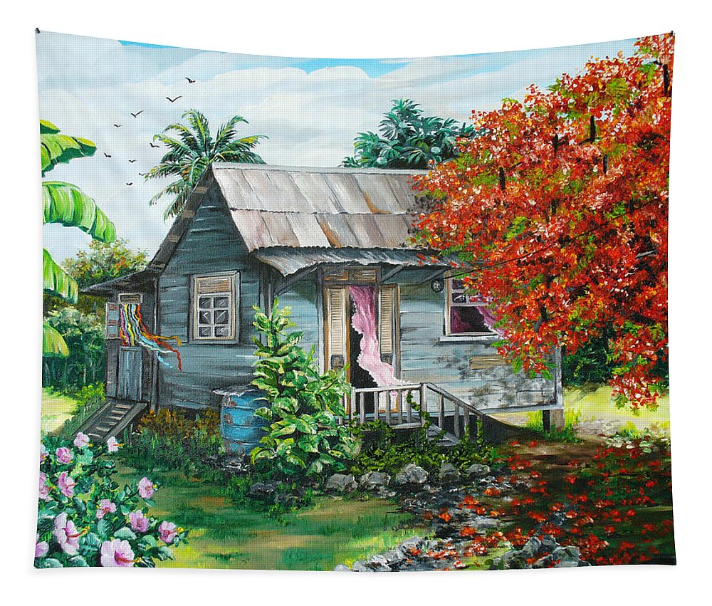 Caribbean Painting Original Painting Trinidad And Tobago ..house Painting Flamboyant Tree Painting Red Blossoms Painting Floral Painting Tree Painting Tropical Painting Tapestry featuring the painting Sweet Tobago Life. 2 by Karin Dawn Kelshall- Best