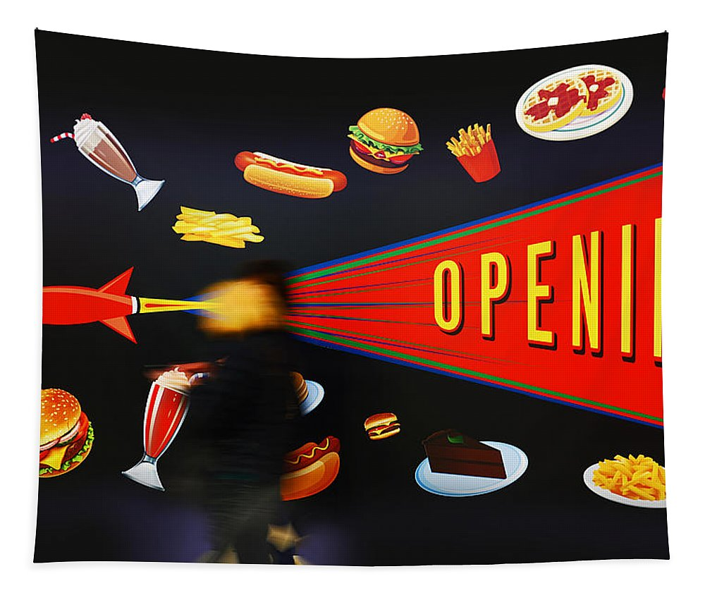 Opening Up The Diner Tapestry featuring the painting Take Out Take Off by Charles Stuart