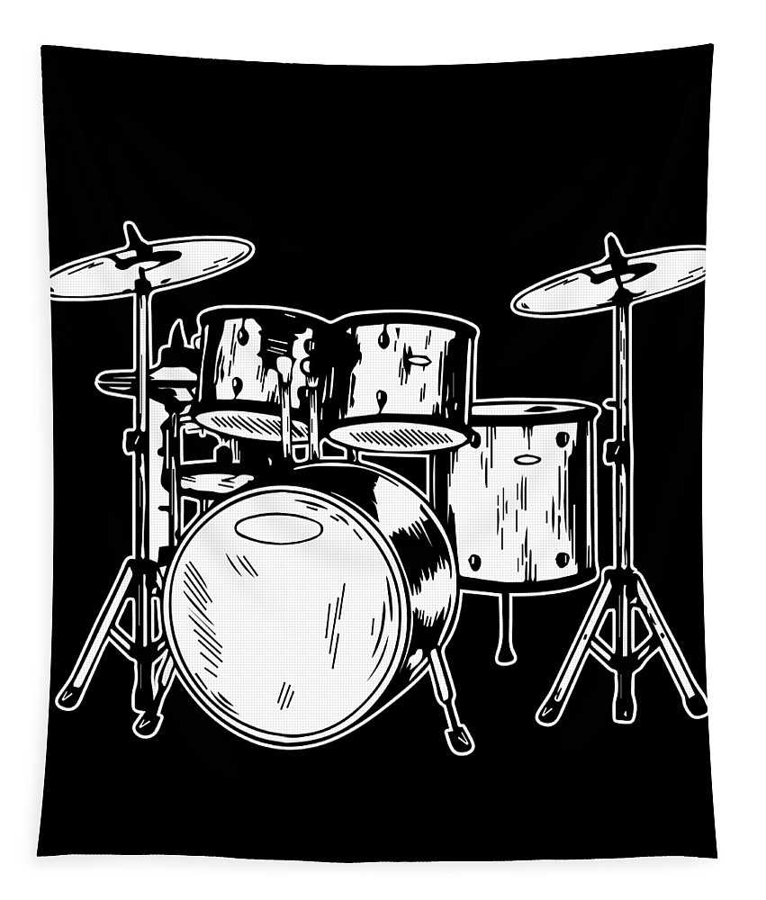 Drummer Tapestry featuring the digital art Tempo Music Band Percussion Drum Set Drummer Gift by Haselshirt