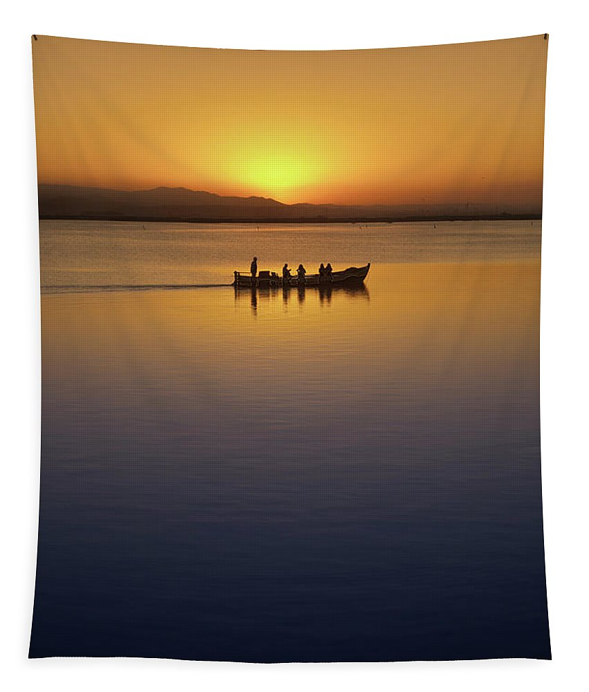 Blue Tapestry featuring the photograph The Boat At Sunset by Vicente Sargues