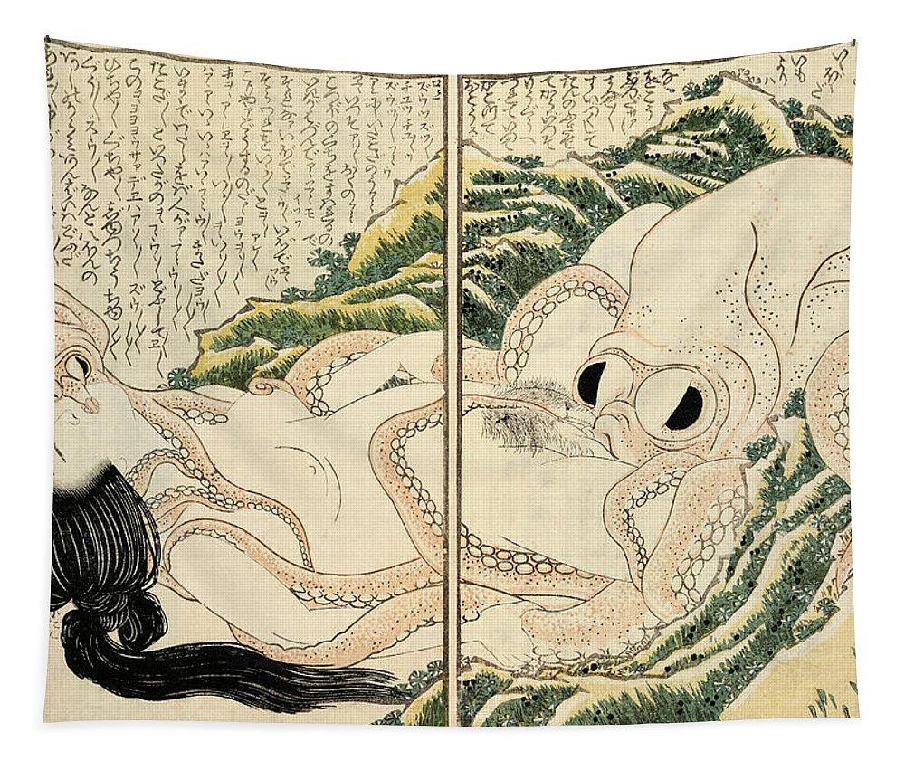 Katsushika Hokusai Tapestry featuring the painting The Dream of the Fisherman's Wife, 1814 by Katsushika Hokusai