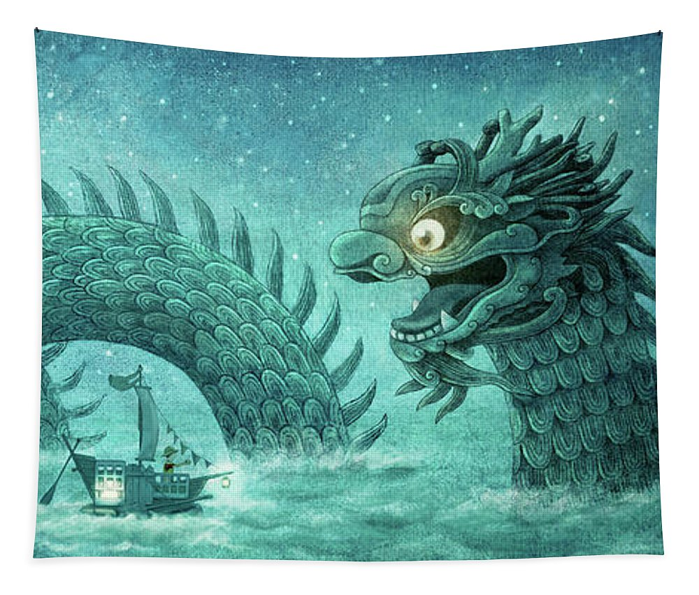 Dragon Tapestry featuring the drawing The Dumpling Dragon by Eric Fan