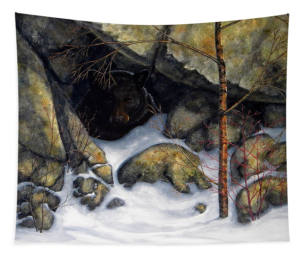 Wildlife Tapestry featuring the painting The Encounter Black Bear by Frank Wilson