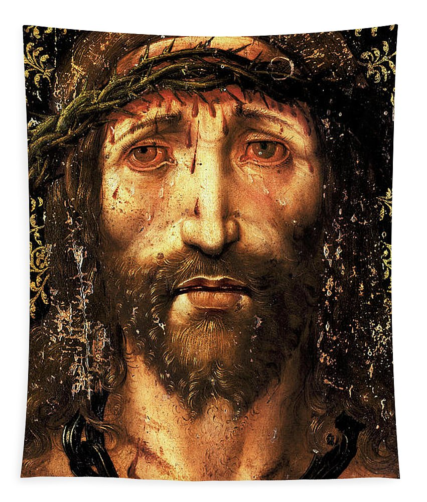 Ecce Homo Tapestry featuring the painting The face of Christ or the suffering Christ by Joan Gasco