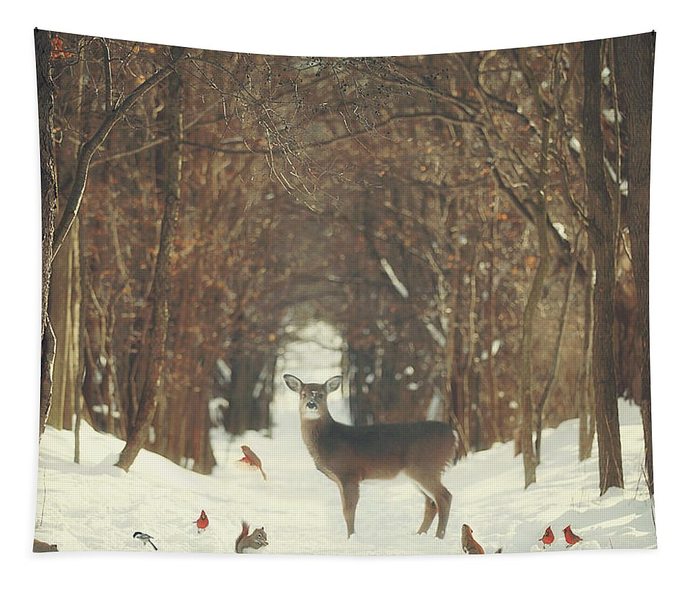 Snow Tapestry featuring the photograph The Forest of Snow White by Carrie Ann Grippo-Pike