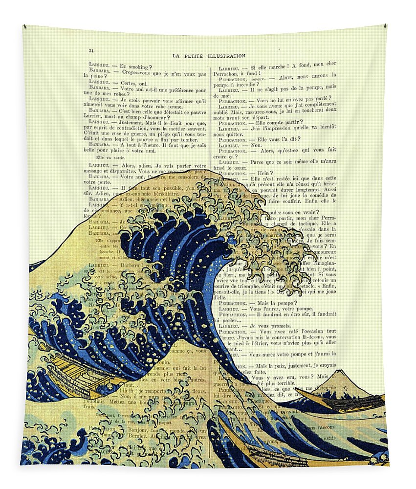 Mount Fuji Tapestry featuring the mixed media The great wave off Kanagawa book page art print by Madame Memento