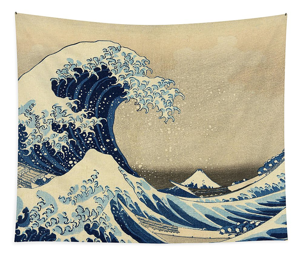 Katsushika Hokusai Tapestry featuring the painting The Great Wave, Under the Wave off Kanagawa, 1830-1833 by Katsushika Hokusai