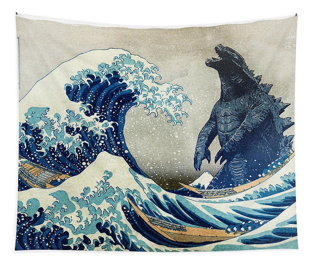 Scifi Tapestry featuring the digital art The Great Wave with monster by Andrea Gatti