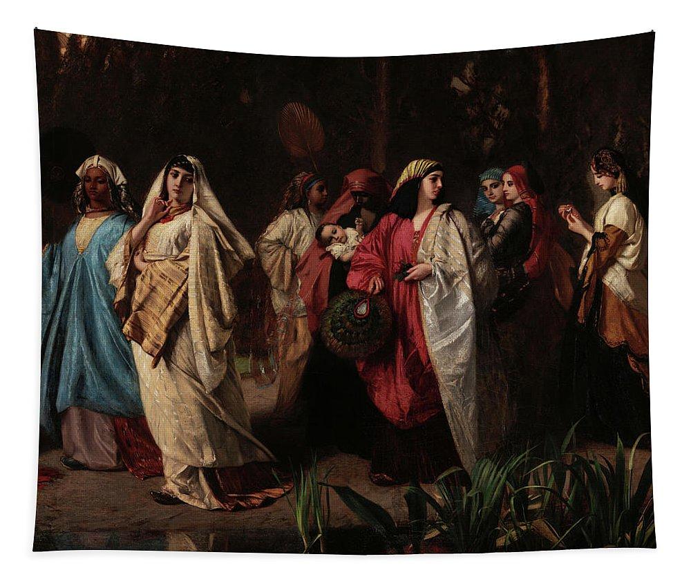 Wilhelm Gentz Tapestry featuring the painting The Harem Taking A Walk, Detail No.2 by Wilhelm Gentz
