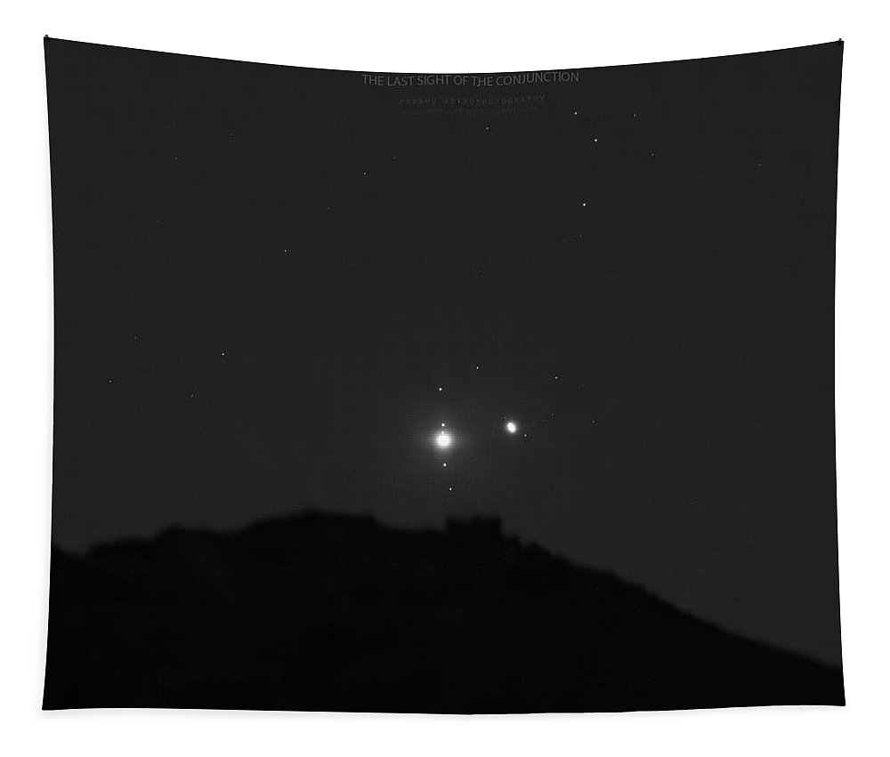 Tapestry featuring the photograph The Last sight of the Conjunction by Prabhu Astrophotography