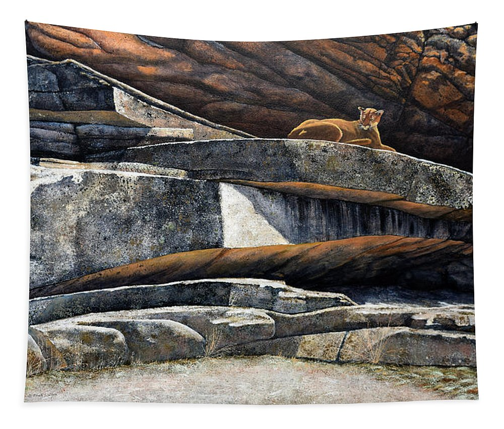 Wildlife Tapestry featuring the painting The Loner Cougar by Frank Wilson