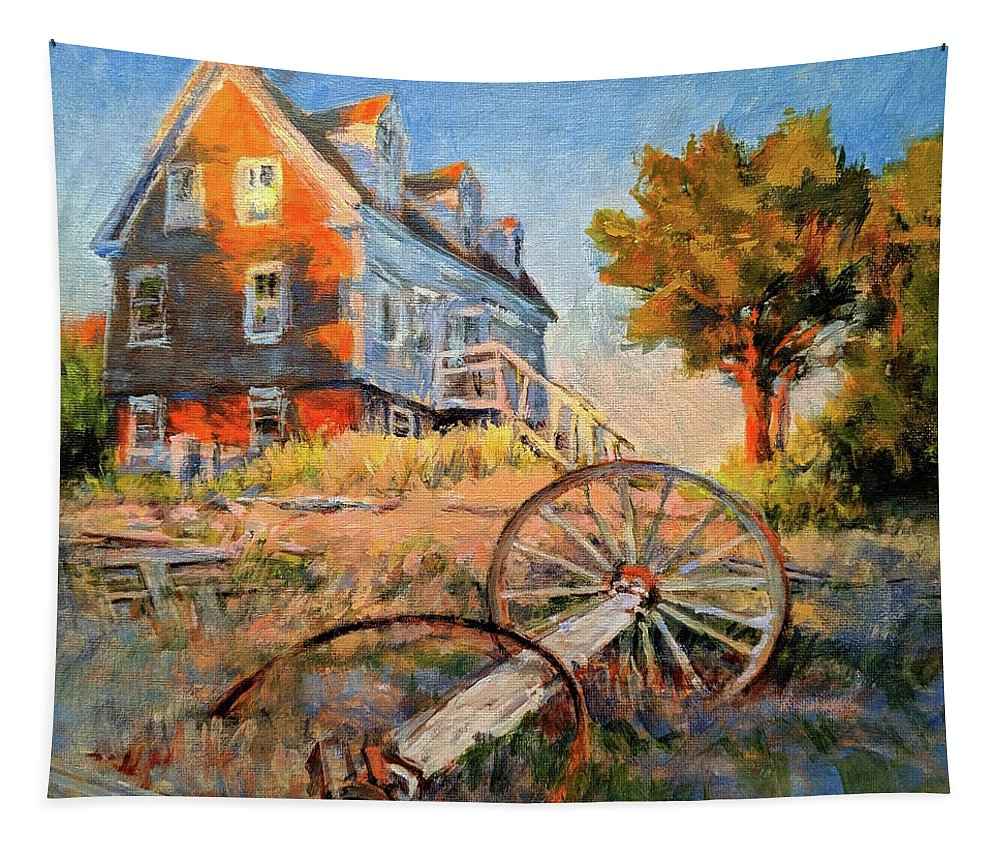 Cape Cod Tapestry featuring the painting The Old Silva Place No. 2 by Peter Salwen