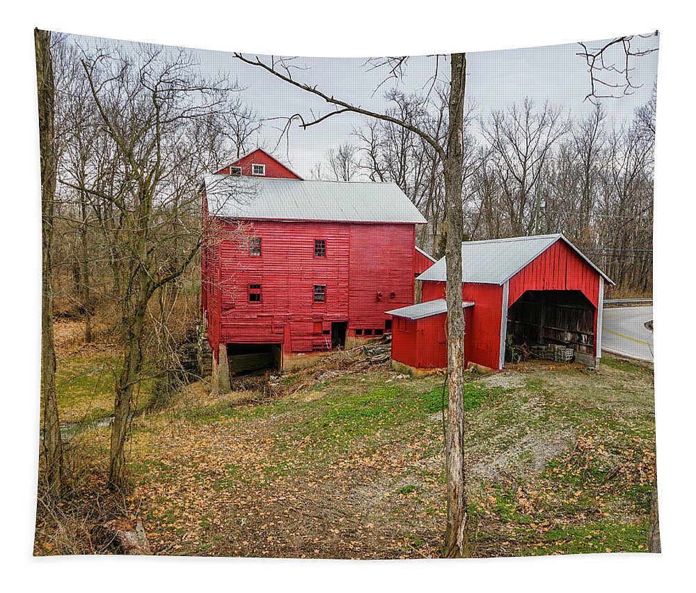 Landscape Tapestry featuring the photograph The Red Mills - Shelby County, Indiana by Scott Smith