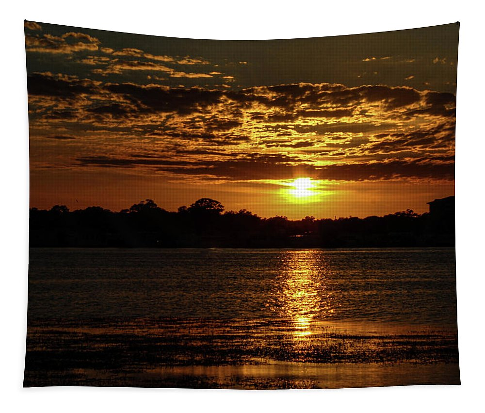 Sunset Tapestry featuring the photograph The Sunset over the Lake by Daniel Cornell